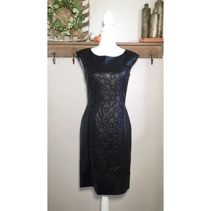 148 Lafayette Black Leather Dress Laser Cut Sheath